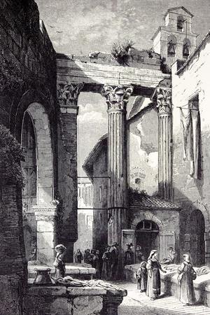 Rome, Italy, 1875, Portico of Octavia Side of the Pescheria