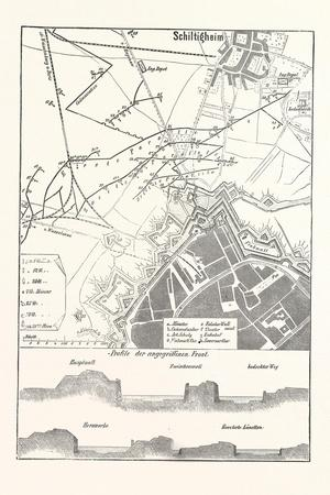 Franco-Prussian War: Schiltigheim, France, Old Map