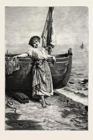 On the Mediterranean, 1882, Boat, Girl, Sea