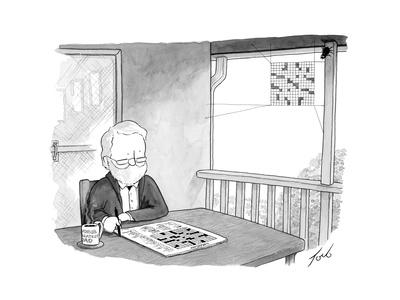 Man works on crossword puzzle as a spider builds a web that looks like a c? - Cartoon