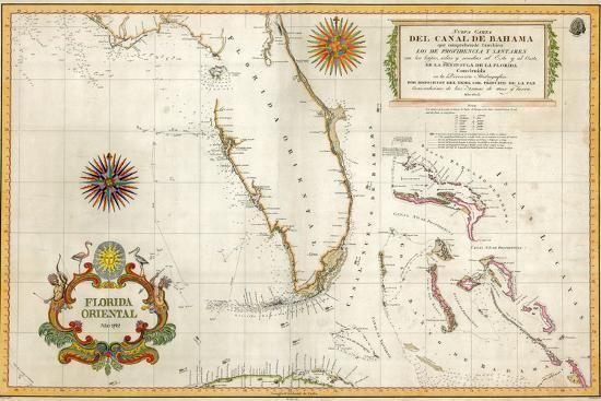 Spanish Map of Florida and the Bahamas, 1805 Giclee Print at ...