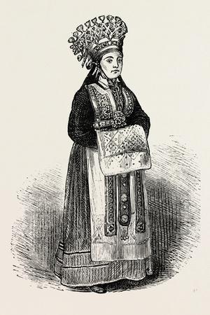 A Norwegian Bride Wearing Her Crown
