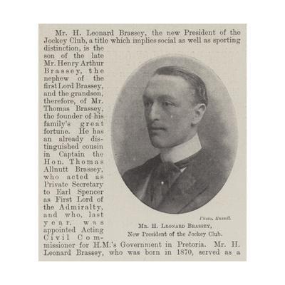 Mr H Leonard Brassey, New President of the Jockey Club