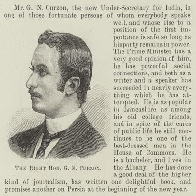 The Right Honourable G N Curzon
