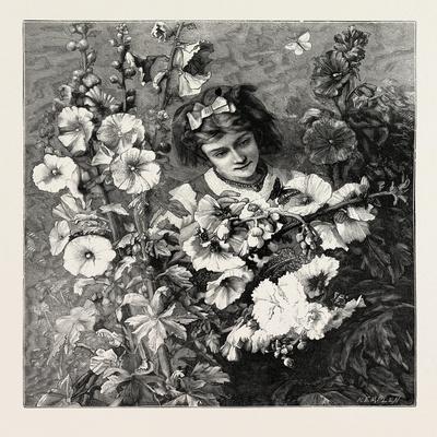 Girl Amongst Flowers, Fashion, 1882