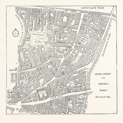 Broad Street and Cornhill Wards from a Map of 1750, London