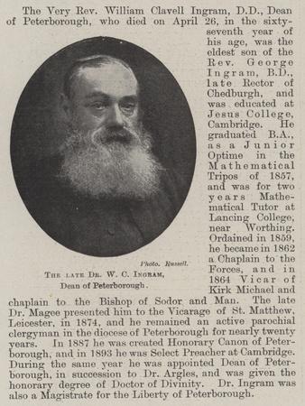 The Late Dr W C Ingram, Dean of Peterborough