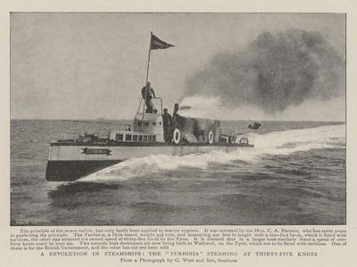 A Revolution in Steamships, the Turbinia Steaming at Thirty-Five Knots