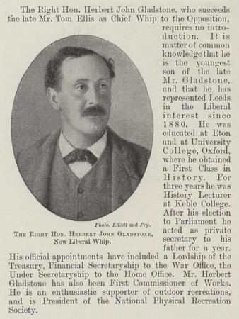 The Right Honourable Herbert John Gladstone, New Liberal Whip