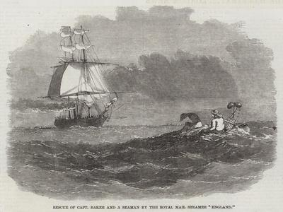 Rescue of Captain Baker and a Seaman by the Royal Mail Steamer England