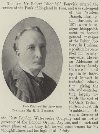 The Late Mr R B Fenwick