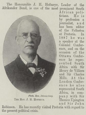 The Honourable J H Hofmeyr