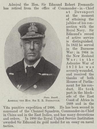 Admiral the Honourable Sir E R Fremantle