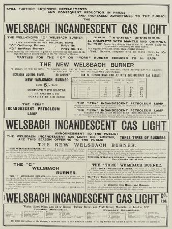 Advertisement, Welsbach Incandescent Gas Light