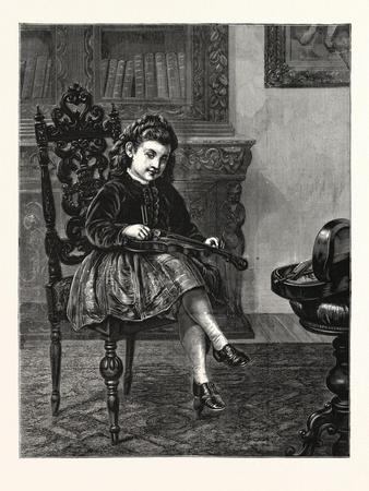 Am I Sharp Enough? 1876, Girl, Violin, Interior, Music