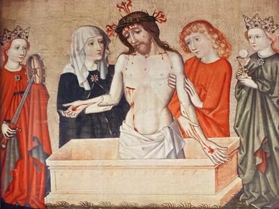 Christ at the Sepulchre, Supported by His Mother and Saint John