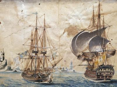English Naval Vessels, Painting, England, 18th Century