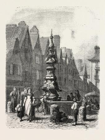 Fountain on the Grand Marché in Tours, France. 1855