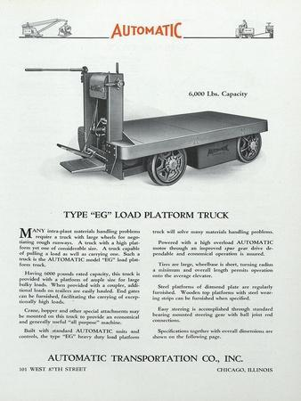 Automatic Transportation Company's Type Eg Load Platform Truck