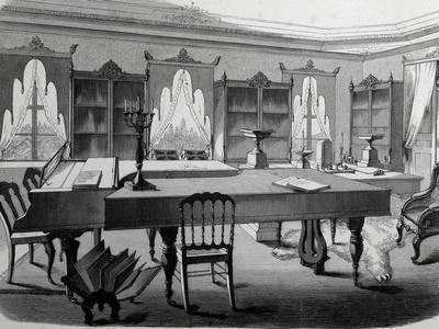 Library of Altenburg Castle, Lithograph, 19th Century, Germany