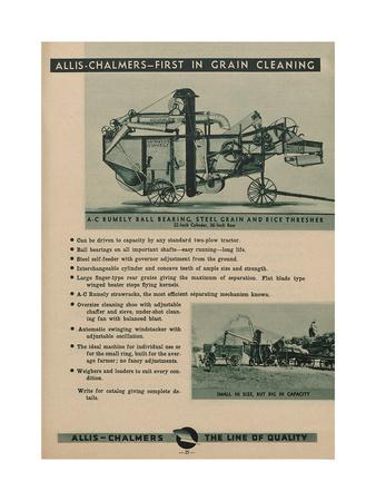 Allis Chalmers Rumely Ball Bearing, Steel Grain and Rice Thresher