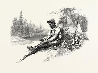 Making New Pole for Canoe, Canada, Nineteenth Century