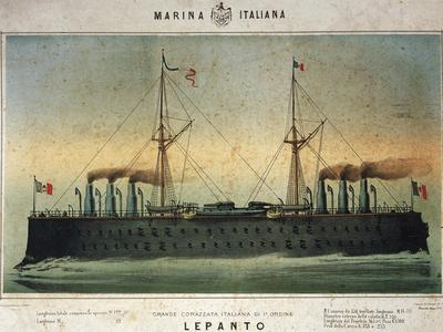 Battleship Lepanto, Colour, Italy, 19th Century