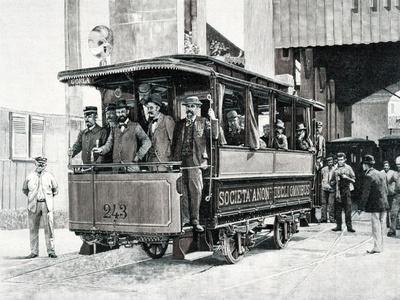 Electric Trams in Milan, 1893, Italy, 19th Century
