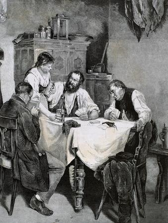 Society, Working Family Playing Cards at Home. L. Rulf, 1887