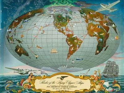 Manuscript Map of the World - Pan American World Airways, C.1942