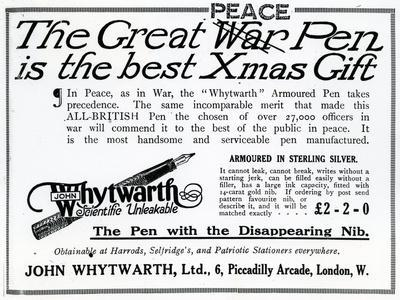 Advertisement 'The Great War Pen Is the Best Xmas Gift'