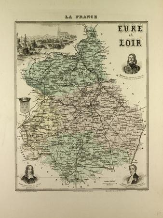Map of Eure and Loir 1896, France