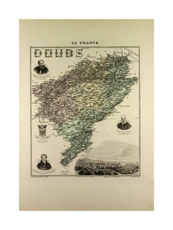 Map of Doubs 1896, France