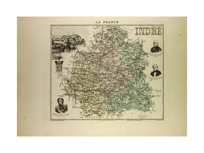 Map of Indre 1896, France