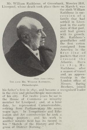 The Late Mr William Rathbone, Philanthropist