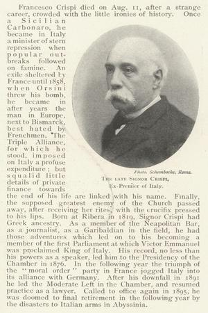 The Late Signor Crispi, Ex-Premier of Italy
