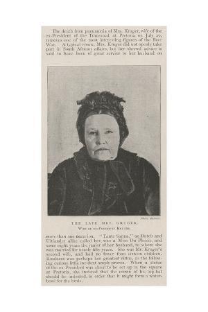 The Late Mrs Kruger, Wife of Ex-President Kruger