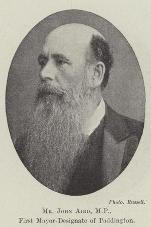 Mr John Aird, Mp, First Mayor-Designate of Paddington
