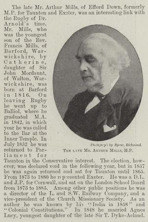 The Late Mr Arthur Mills