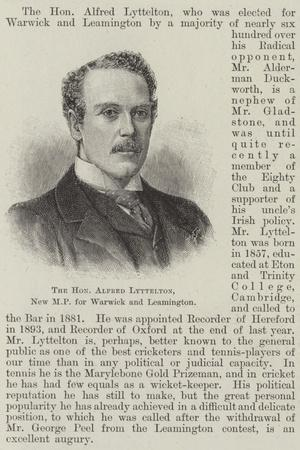 The Honourable Alfred Lyttelton, New Mp for Warwick and Leamington