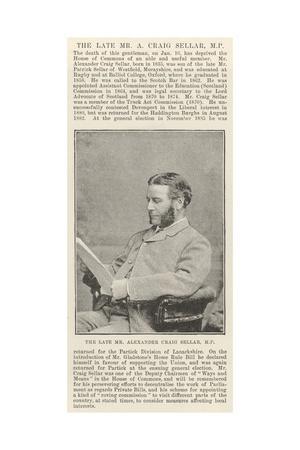 The Late Mr Alexander Craig Seller