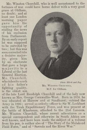 Mr Winston Churchill, Mp for Oldham