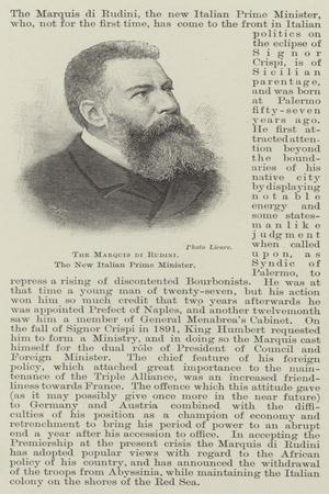 The Marquis Di Rudini, the New Italian Prime Minister