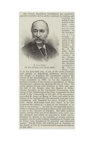 M Jules Ferry, the New President of the French Senate