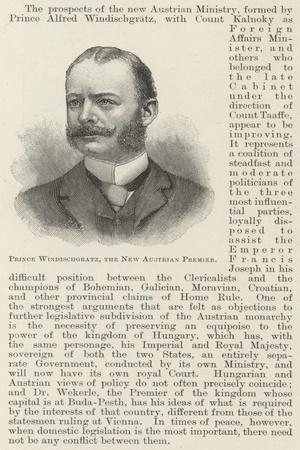 Prince Windischgratz, the New Austrian Premier