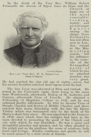 The Late Very Reverend W R Fremantle, Dean of Ripon