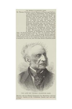 The Late Sir Thomas Gladstone, Baronet