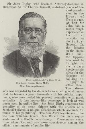 Sir John Rigby, New Attorney-General