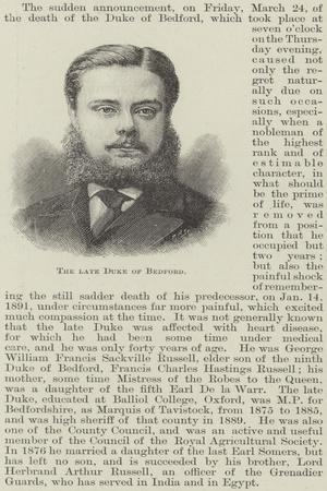 The Late Duke of Bedford