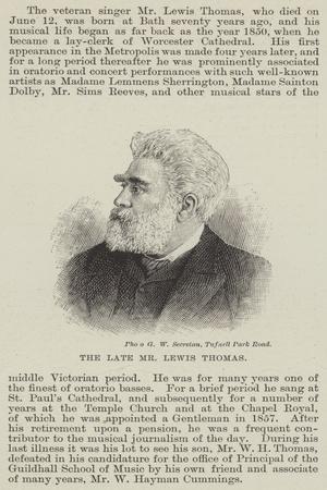 The Late Mr Lewis Thomas